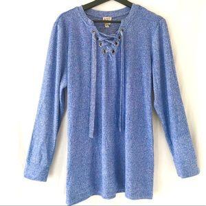 VINTAGE COMO NWT Heathered Blue Tunic  Sweatshirt